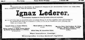 Todesanzeige Ignaz Lederer 1896 (Neue Freie Presse Wien)